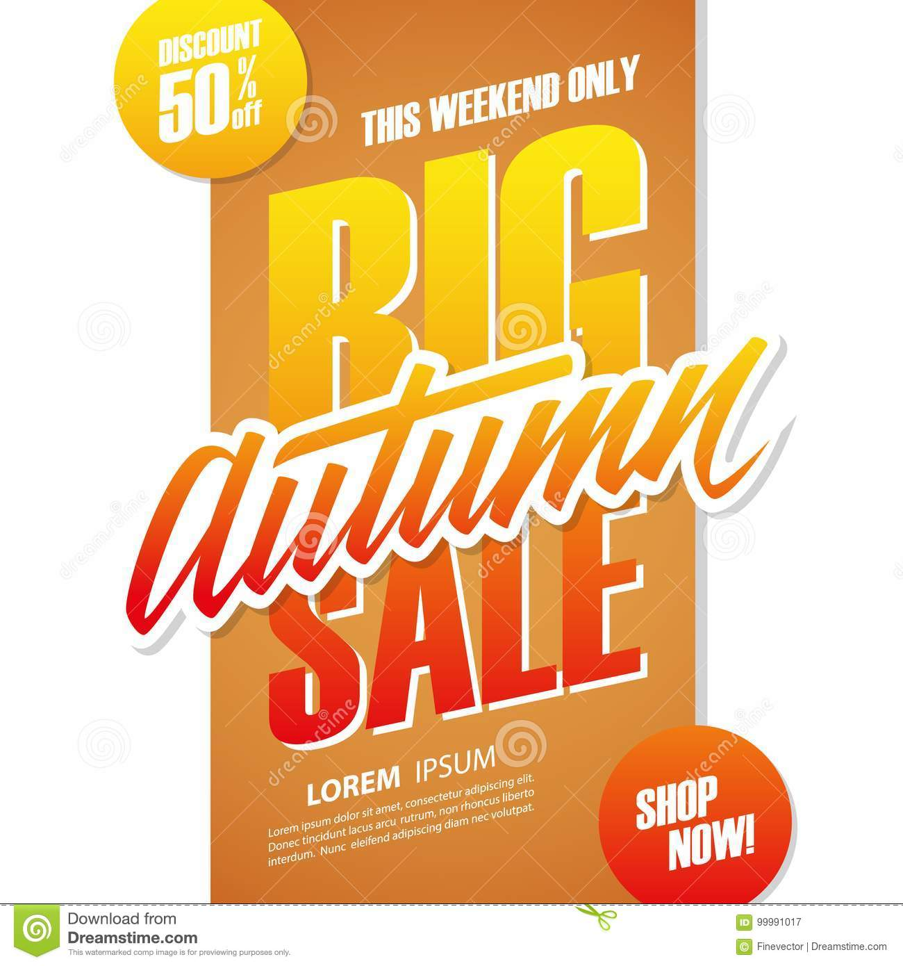 Big Sales This Weekend: Big Autumn Sale. This Weekend Special Offer Banner Stock