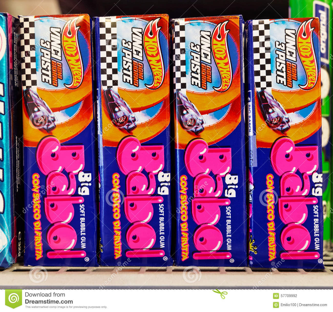 Soft Bubble Gum on a shelf in a supermarket. Big Babol, the bubble gum ...