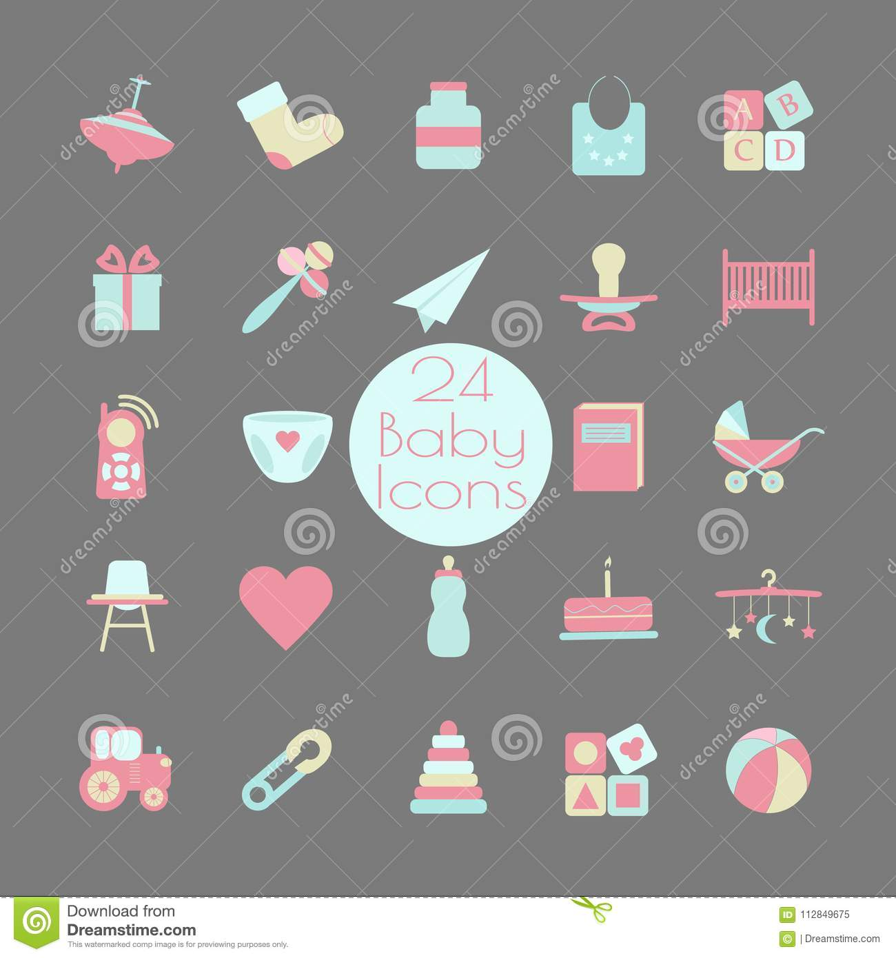 Big web icon set. Baby, toy, feed and care. Stock illustration.