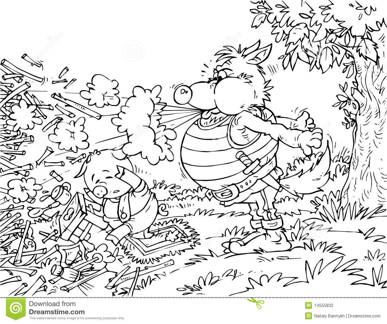 Bad Wolf Three Pigs Colouring Pages