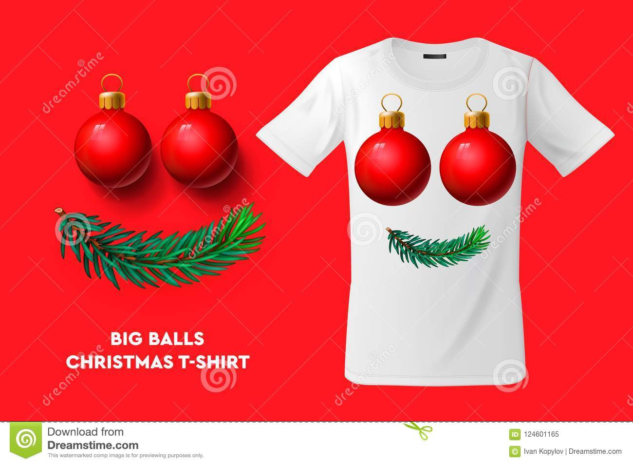 Big Balls Christmas T-shirt Design, Modern Print Use For Sweatshirts ...