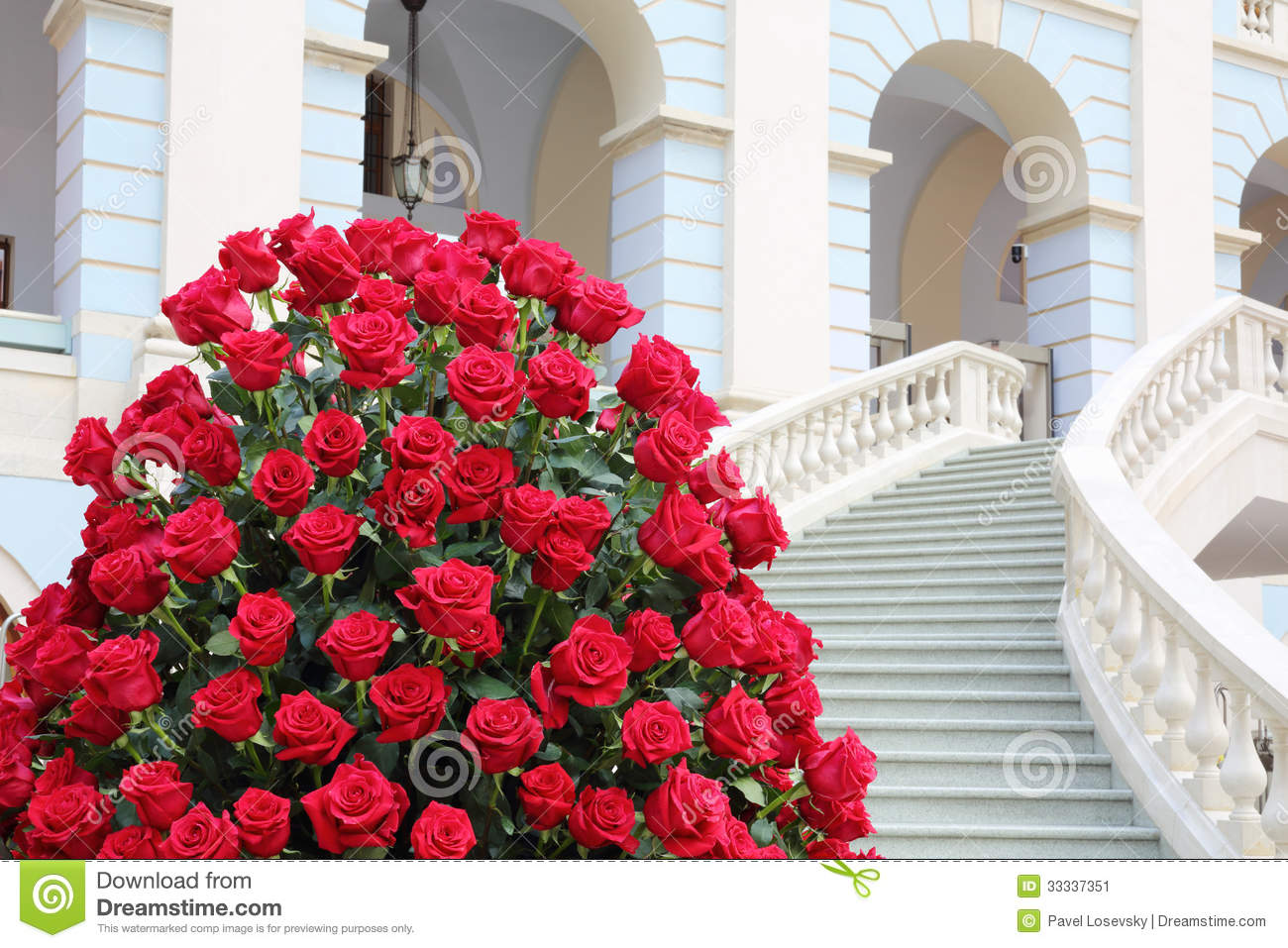 big beautiful bouquet of red roses near staircase stock. Black Bedroom Furniture Sets. Home Design Ideas