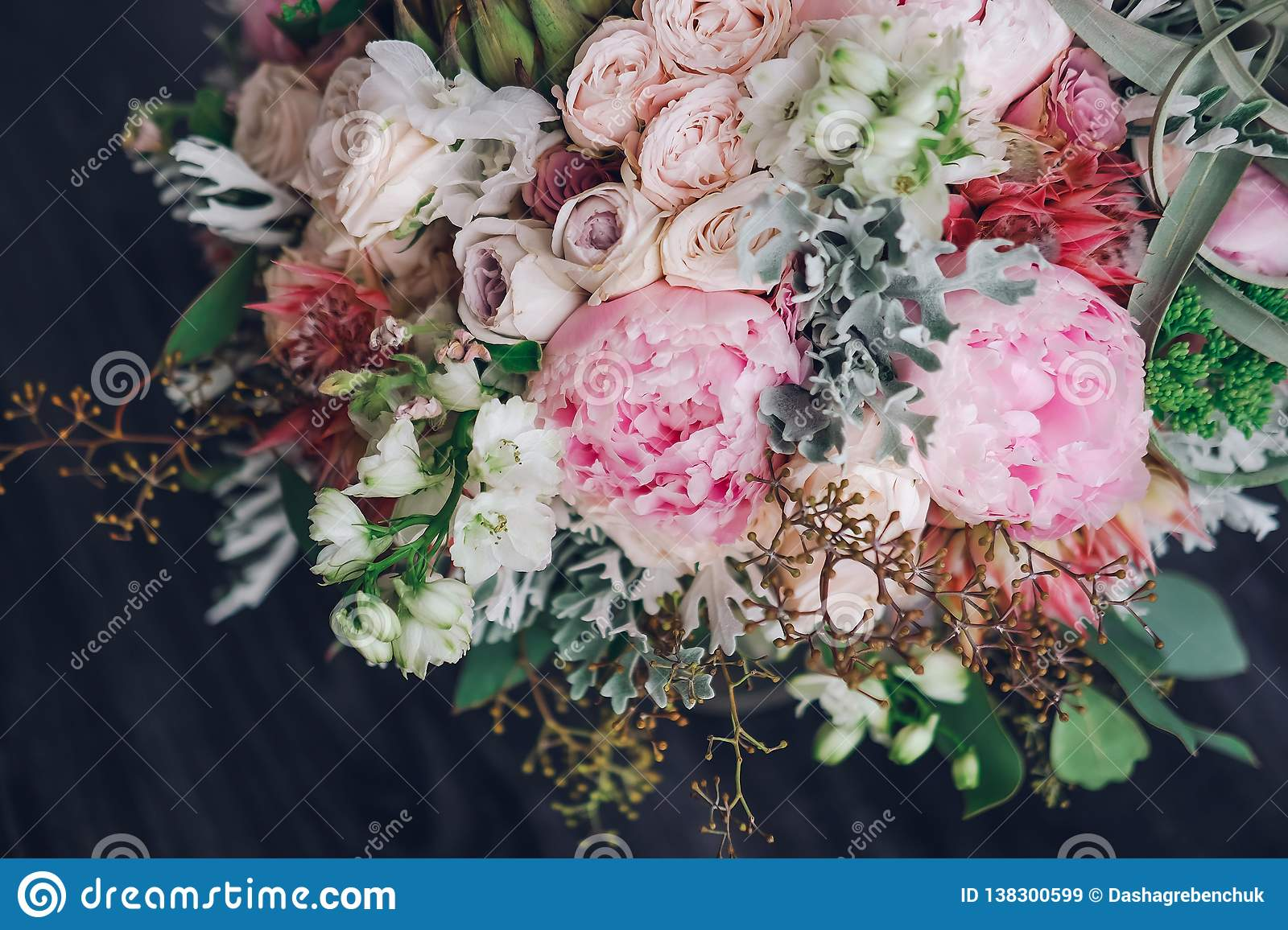 Beautiful Wedding Bouquet Of Spring Flowers In Pastel Tones Stock Image Image Of Elegance Accessory 138300599