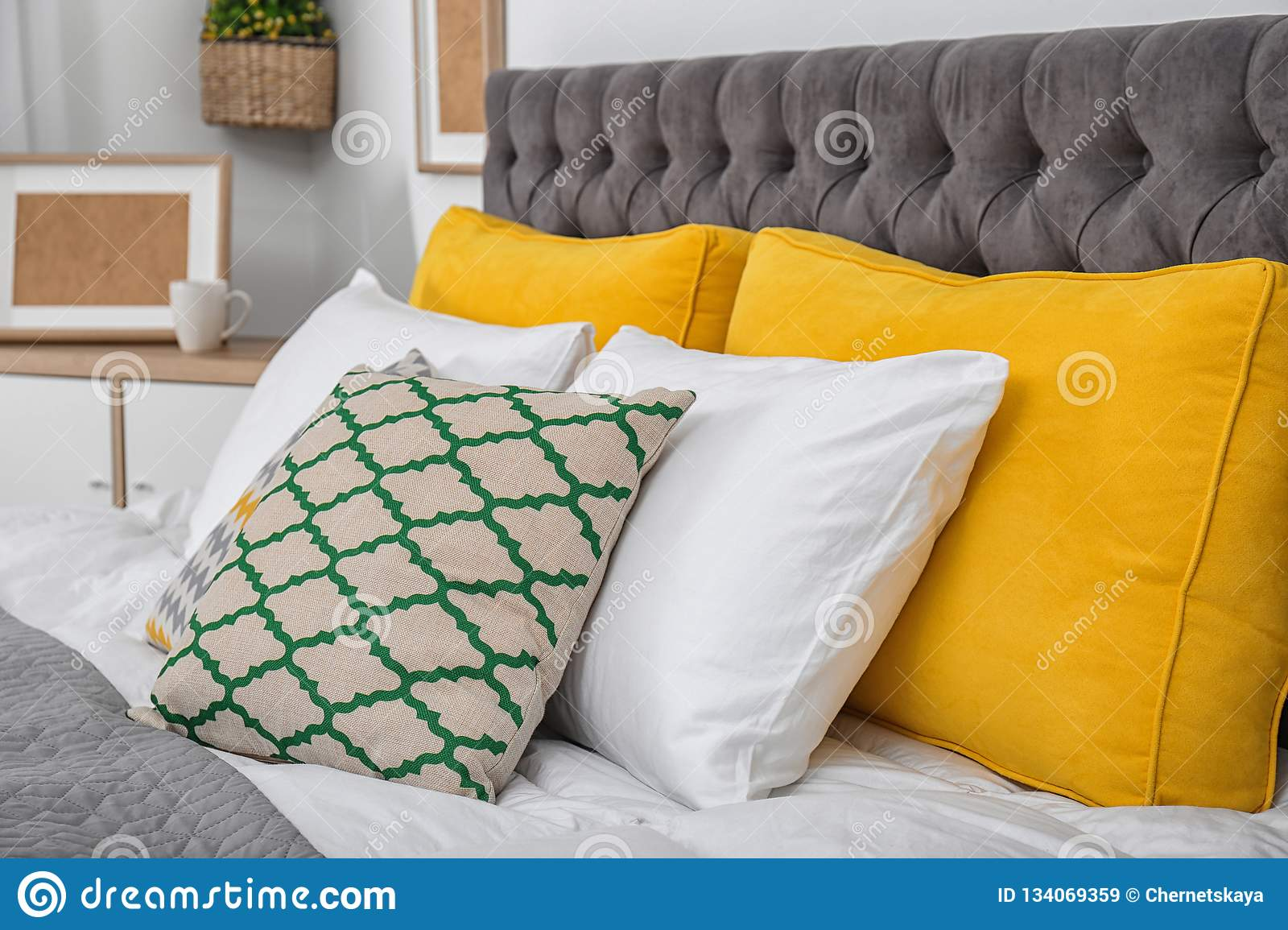 Big Bed With Soft Pillows In Stylish Room Stock Image Image Of