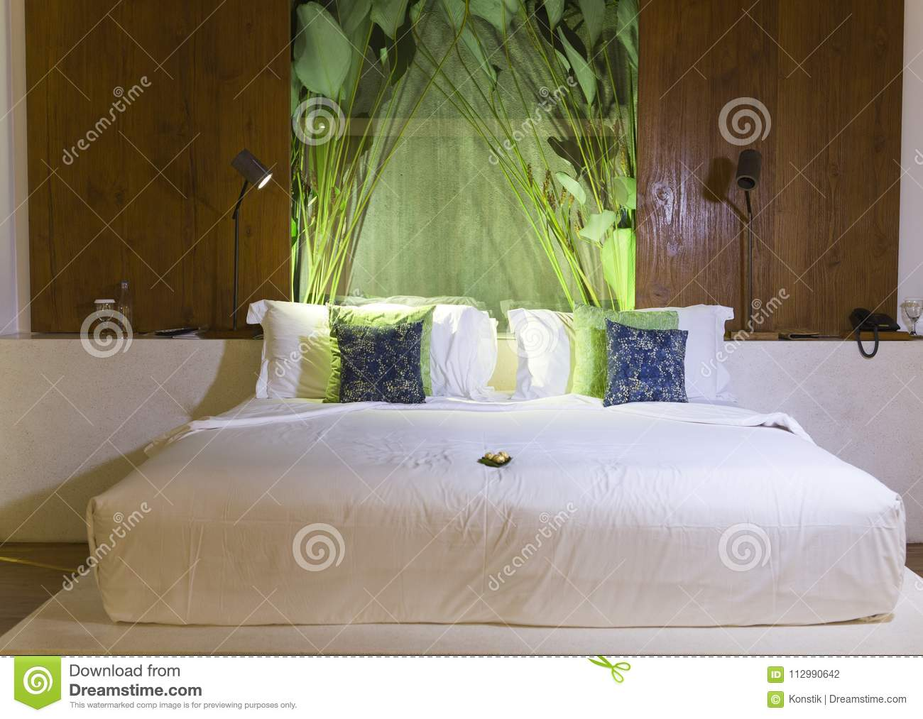 Big bed with throw pillows