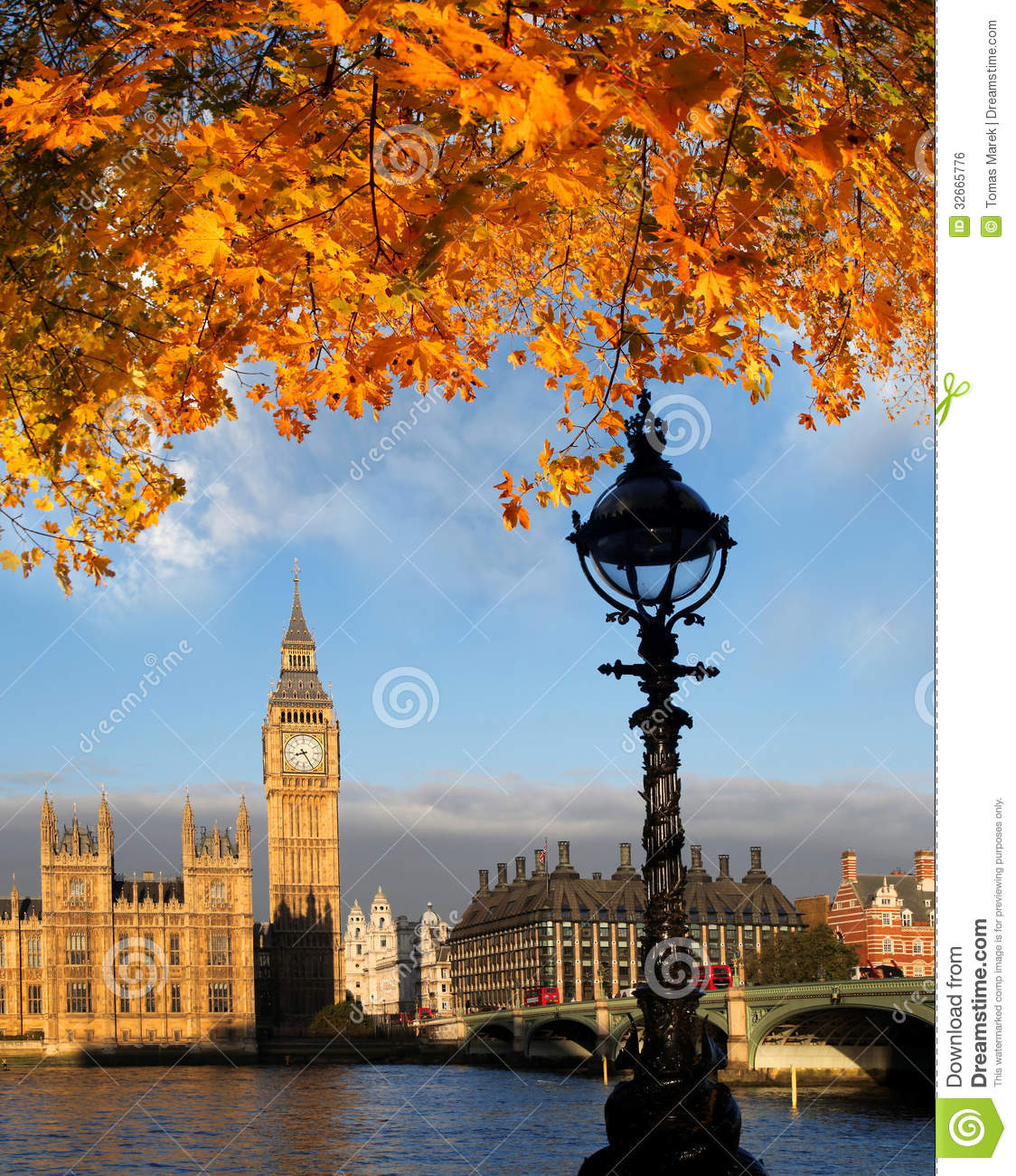 Big Ben With Autumn Leaves In London, England Stock Photo