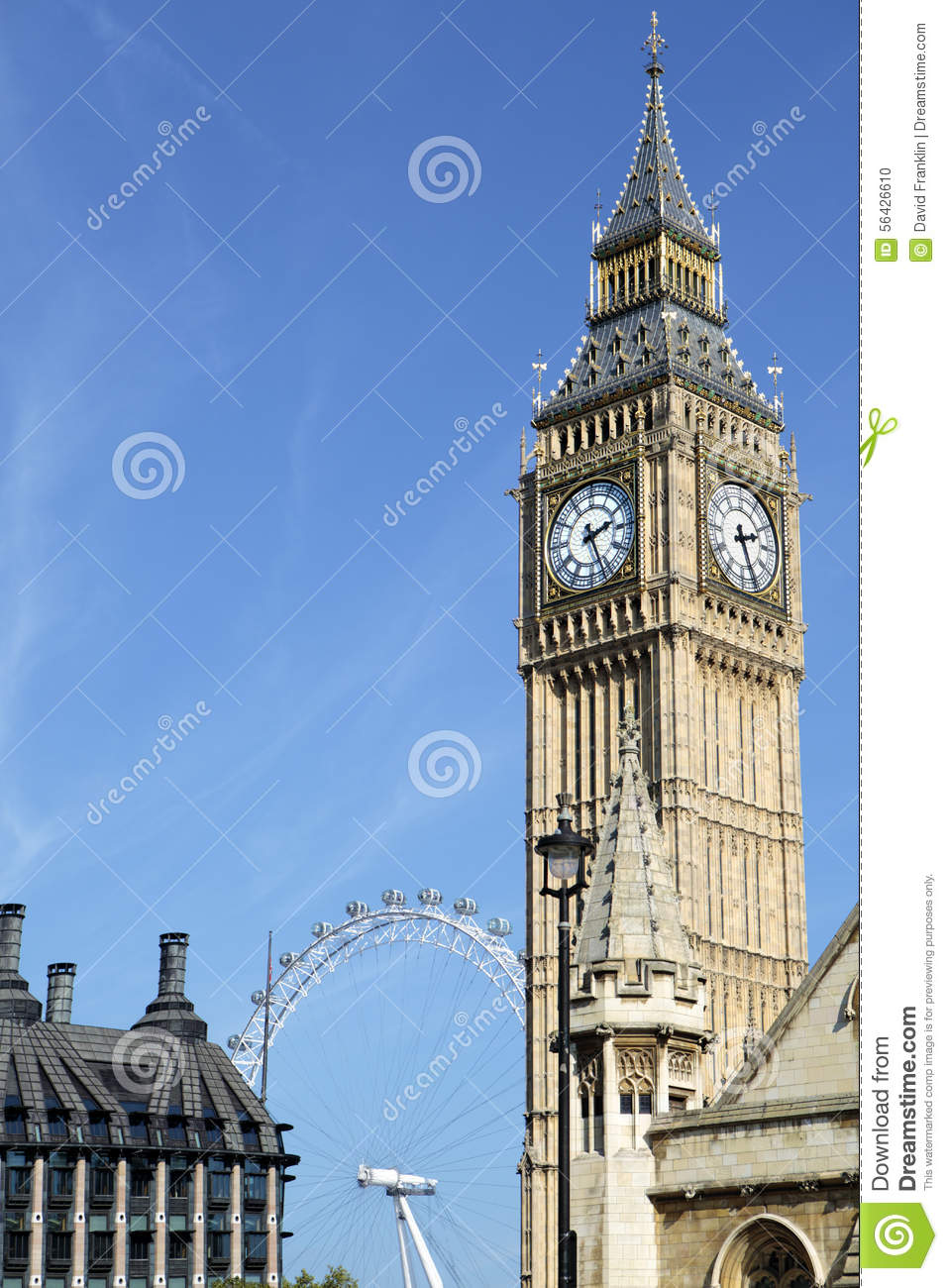 View of Big Ben clock tower from Parliament Square London. Millenium ...