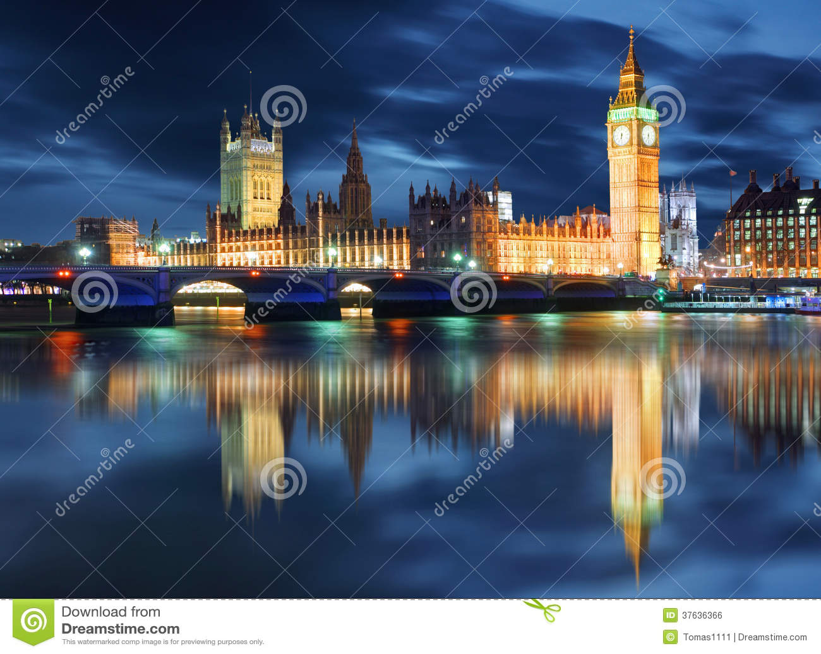 Big Ben e casas do parlamento na noite, Londres, Reino Unido