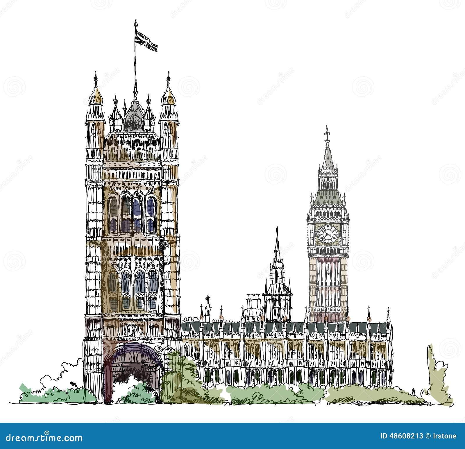 Big Ben e o parlamento elevam-se em Londres, coleção do esboço, porta do Buckingham Palace