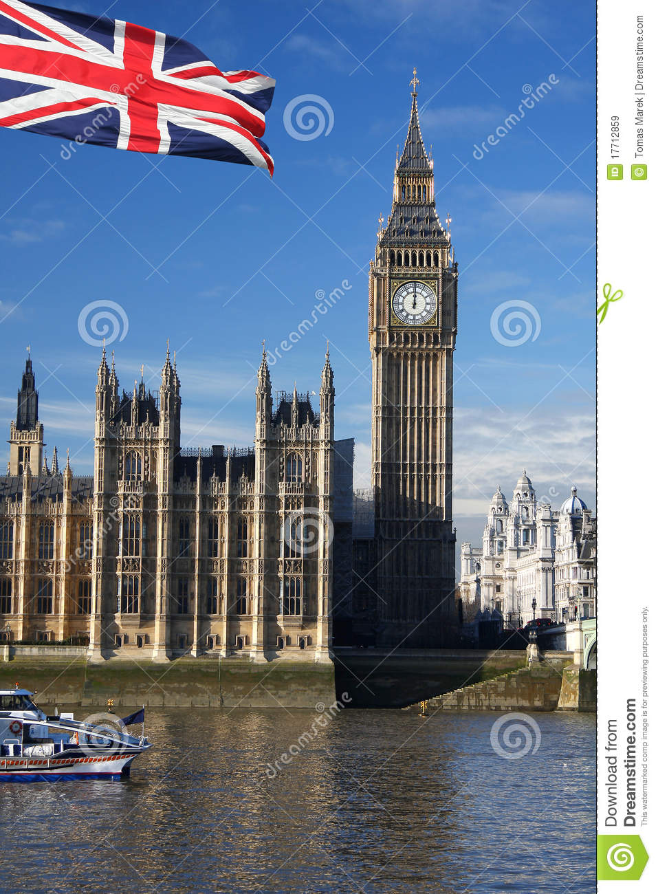 Big Ben With Flag Of England Uk Royalty Free Stock Images