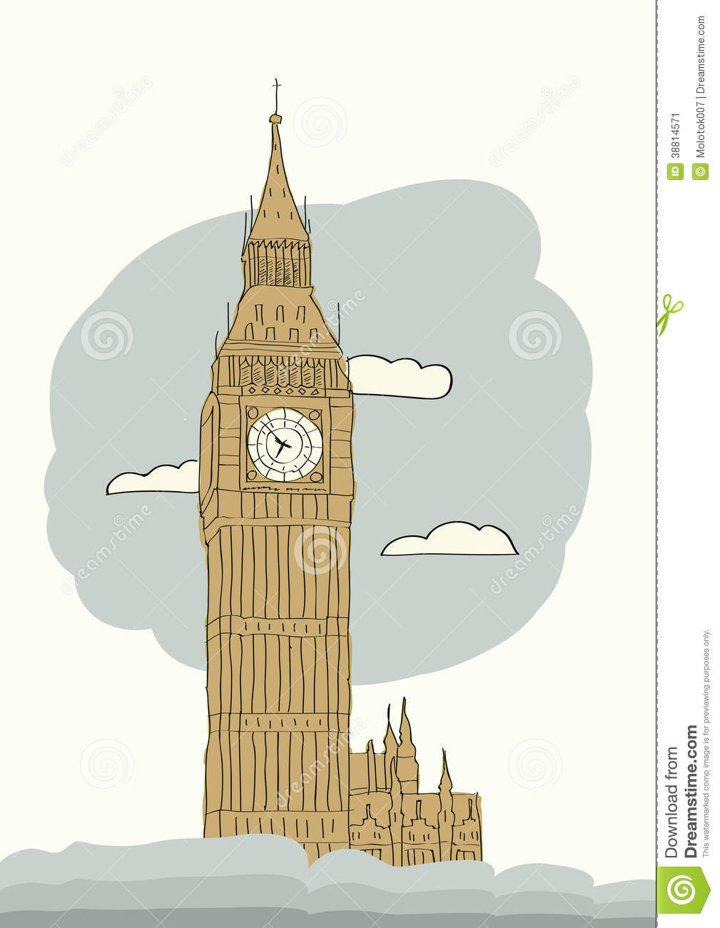 Big Ben, London, England, UK. Hand Drawn Illustration. Vector ...