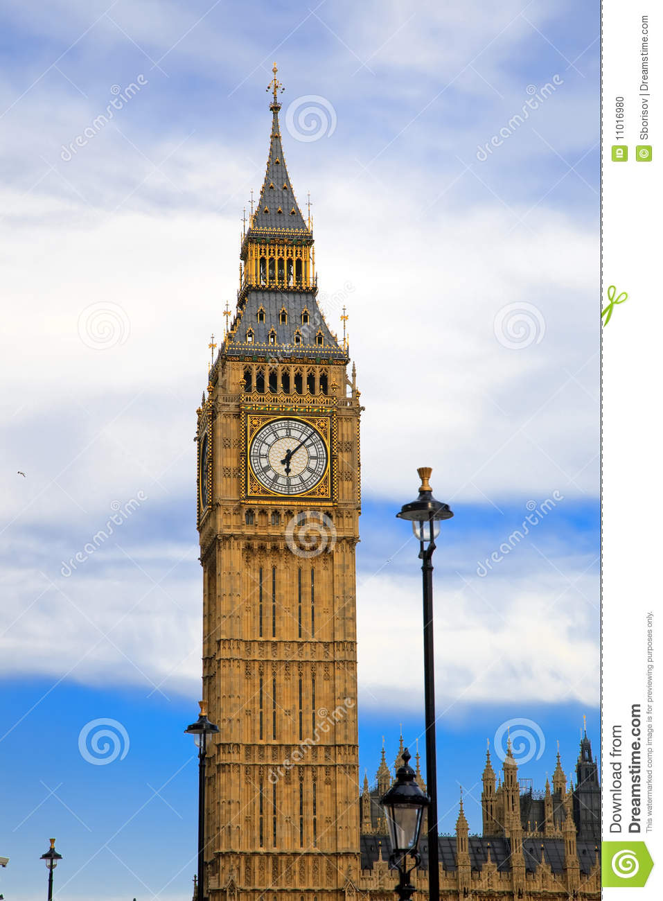 big ben in london at evening stock photo image 11016980. Black Bedroom Furniture Sets. Home Design Ideas