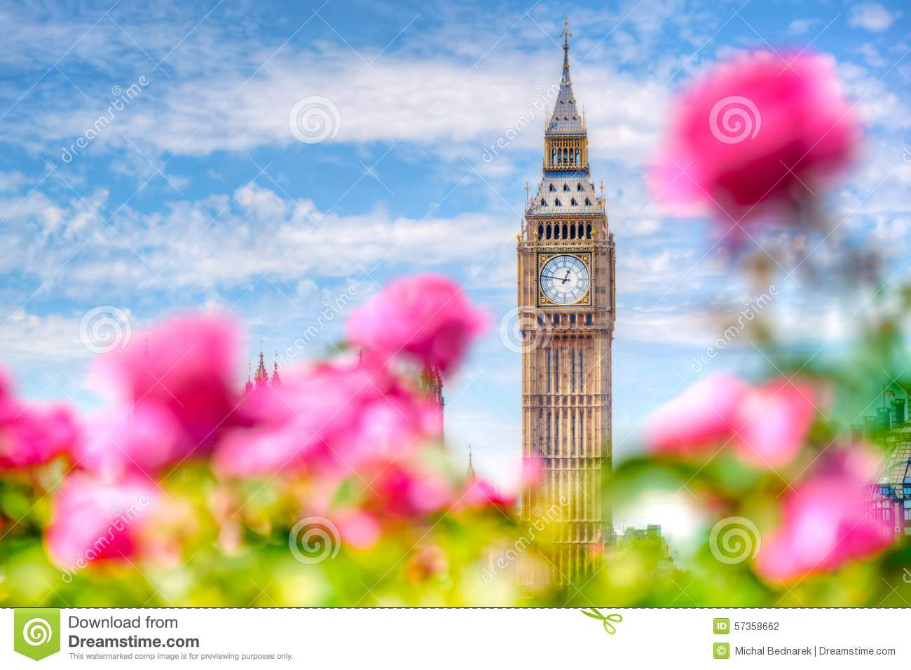 Big Ben London UK View From A Public Garden With