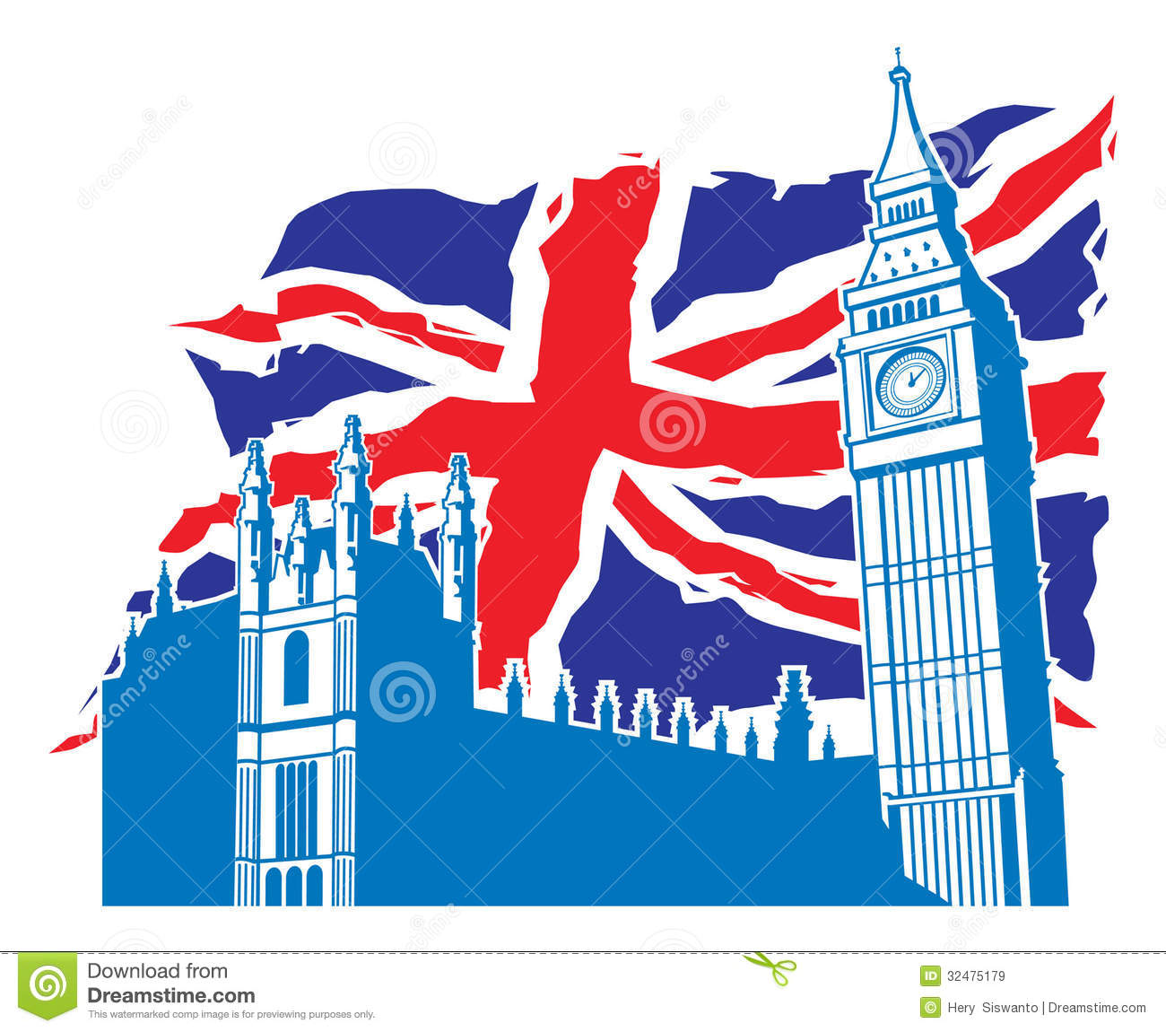 Big Ben Of London With Union Jack As A Background Royalty