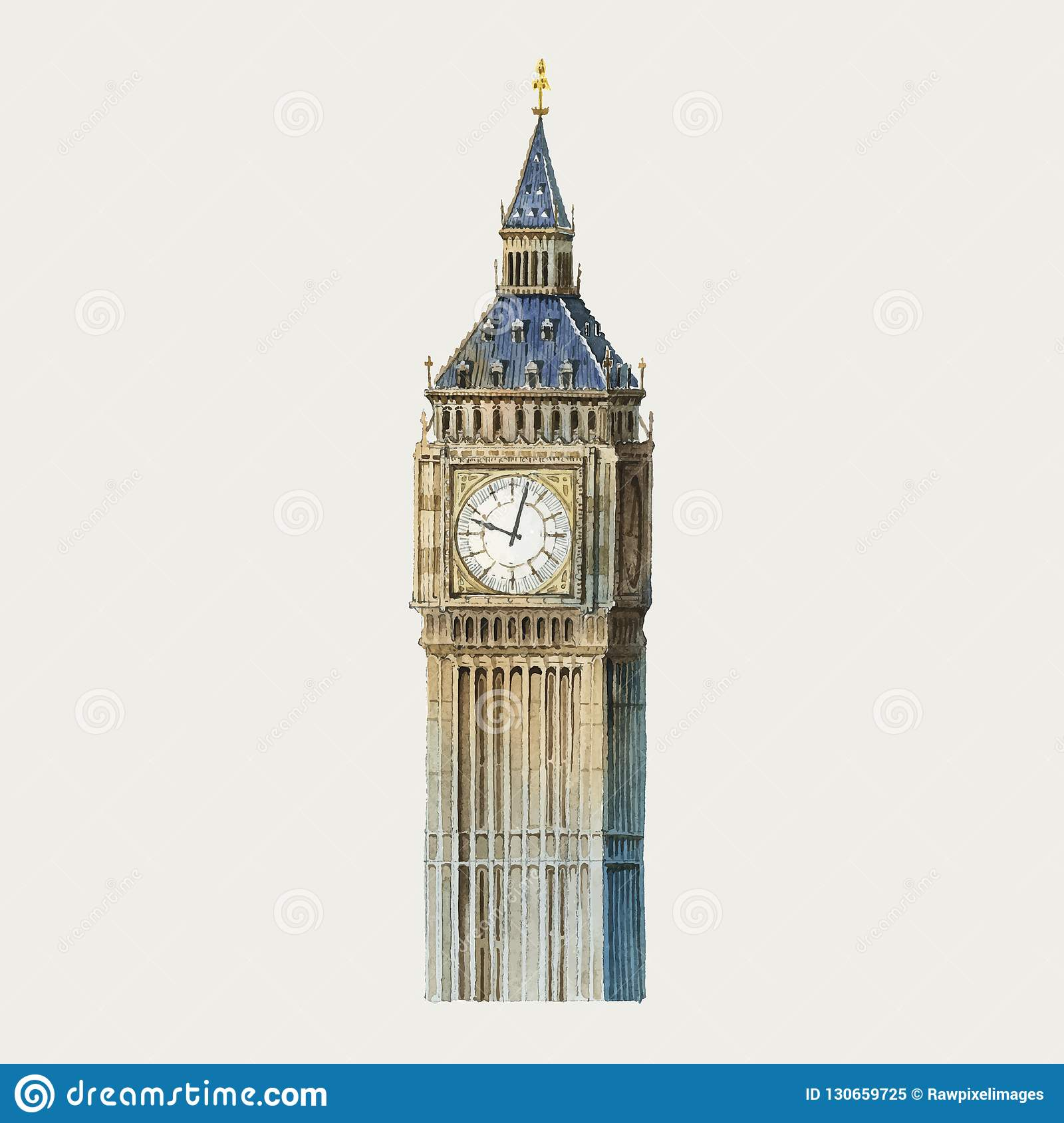 big ben in london watercolor illustration stock vector