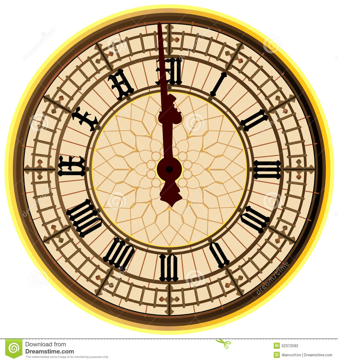 Big ben midnight clock face stock illustration image 52372582