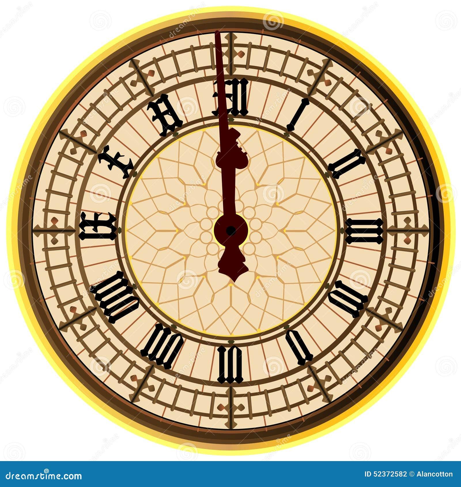 Big Ben Midnight Clock Face Stock Illustration Image