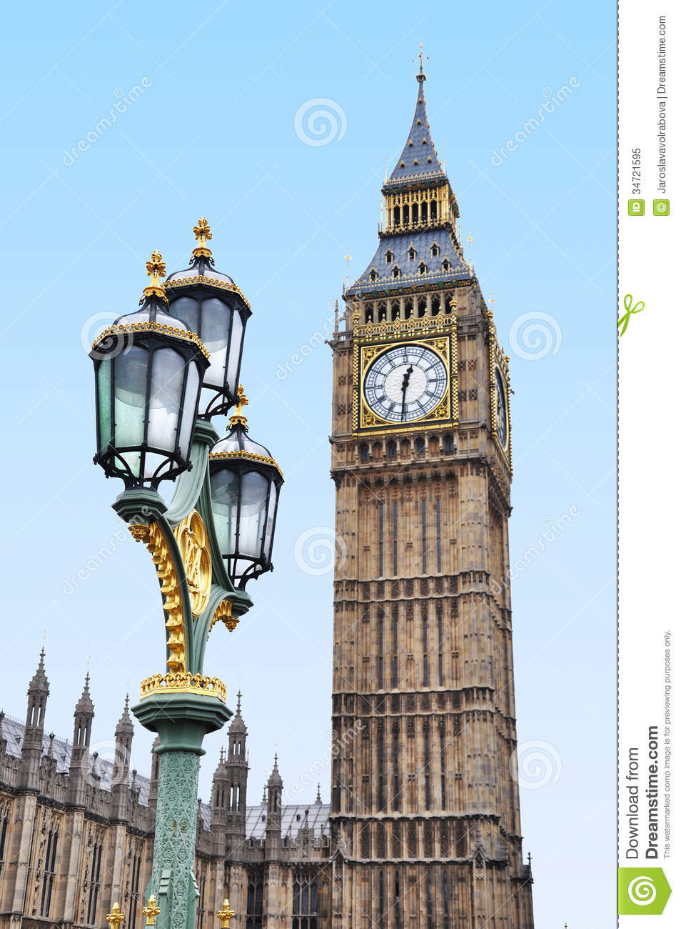 Big Ben With An Ornate Lamp Stock Image - Image: 34721595