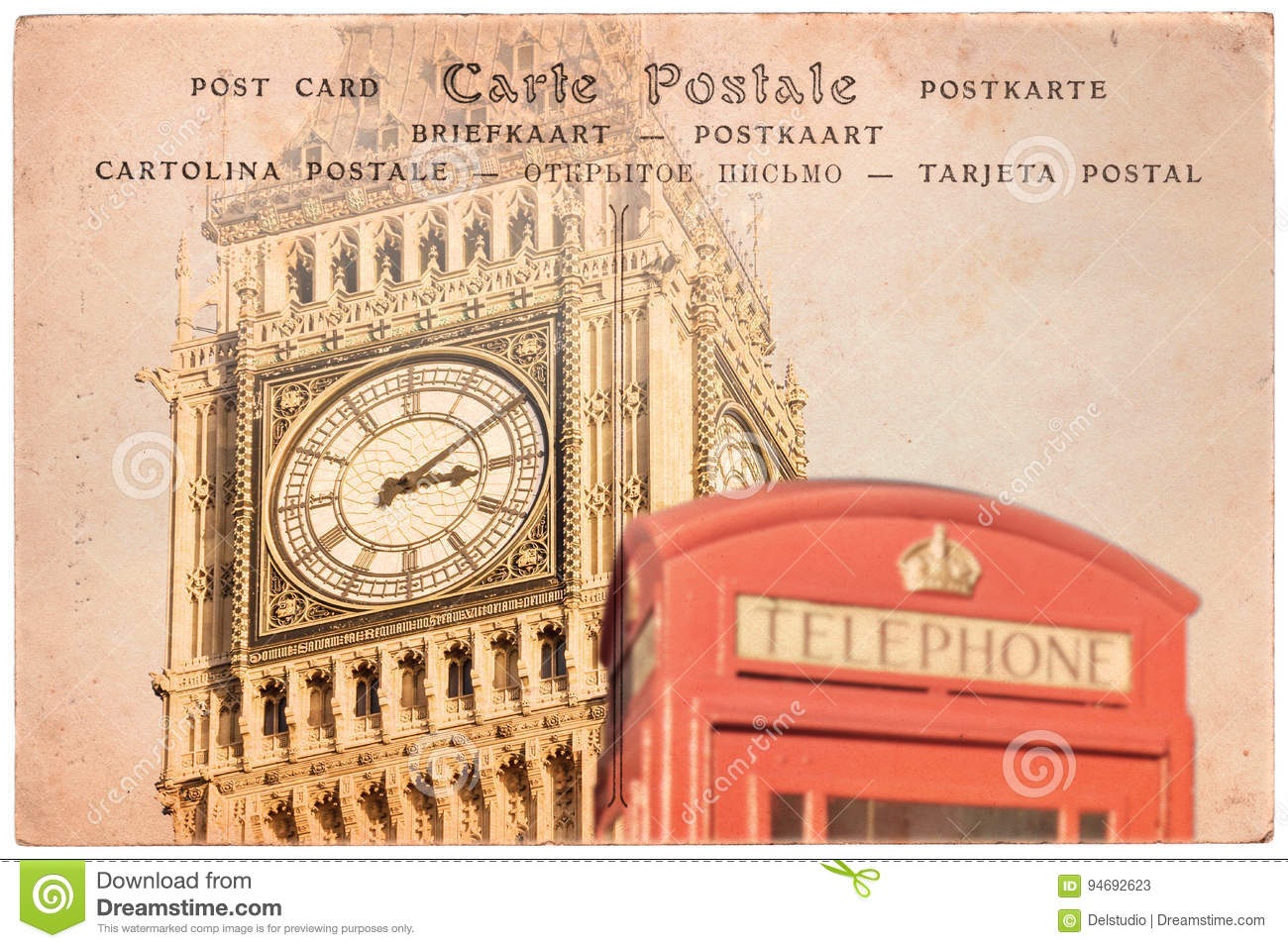 Big Ben and a red english phone booth in London, UK, collage on sepia vintage postcard background, word postcard in severa