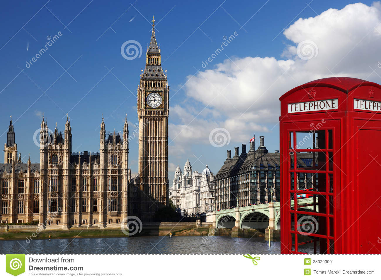 Big Ben With Red Phone Booth In London, England Royalty Free Stock Images - Image: 35329309