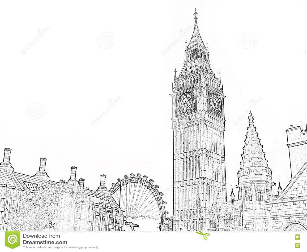 Big ben sketch in black and white