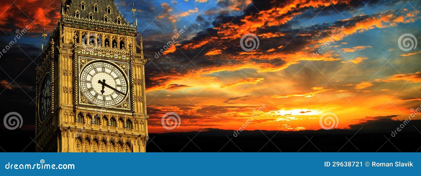 Download Big Ben At Sunset Panorama, London Stock Image - Image of british, english: 29638721