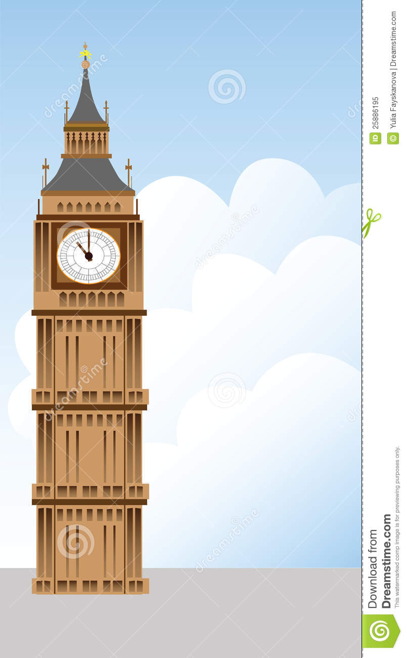 Big Ben Tower And Clouds Illustration Royalty Free Stock