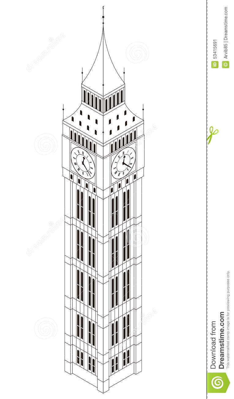 Big Ben Tower Isolated Isometric Stock Illustration