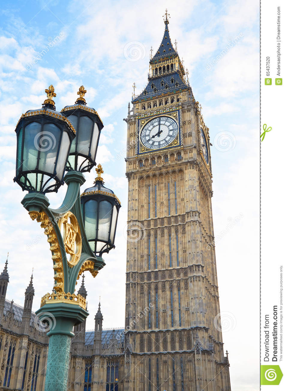 Big Ben View With Ancient Street Lamp In London Stock Photo ...