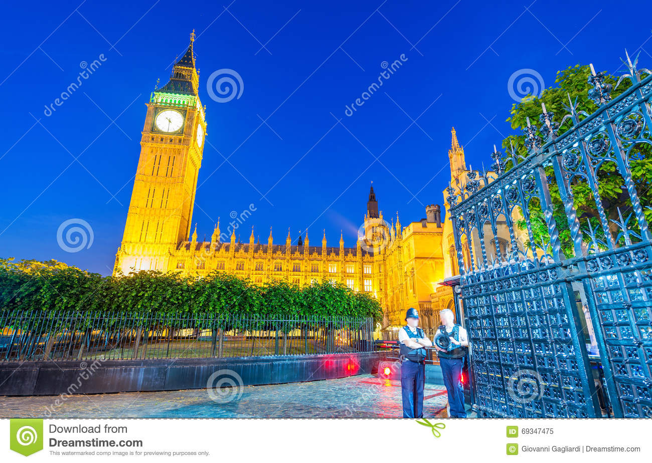 Big Ben and Westminster Palace colors at sunset, London