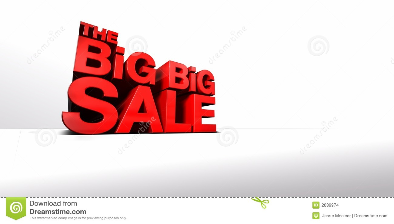 CGI of Towering 3-Dimentional Text that reads The Big Big Sale.