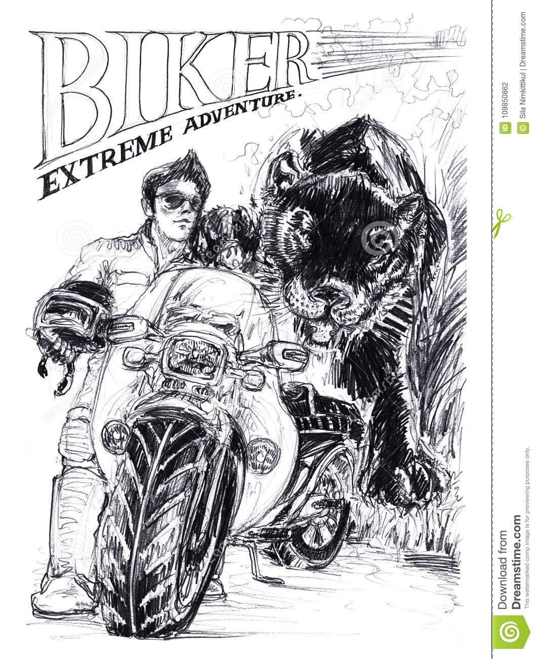 Biker action smart with big bike and panther or black tigeris background acting pencil has biker stroke and extreme adventure word drawing speedy concept
