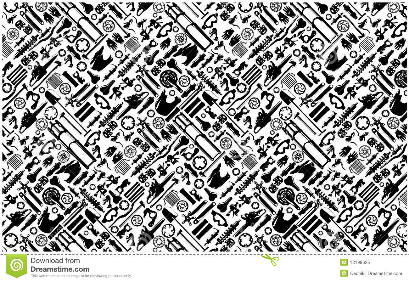 Big bike part colletion on seamless pattern