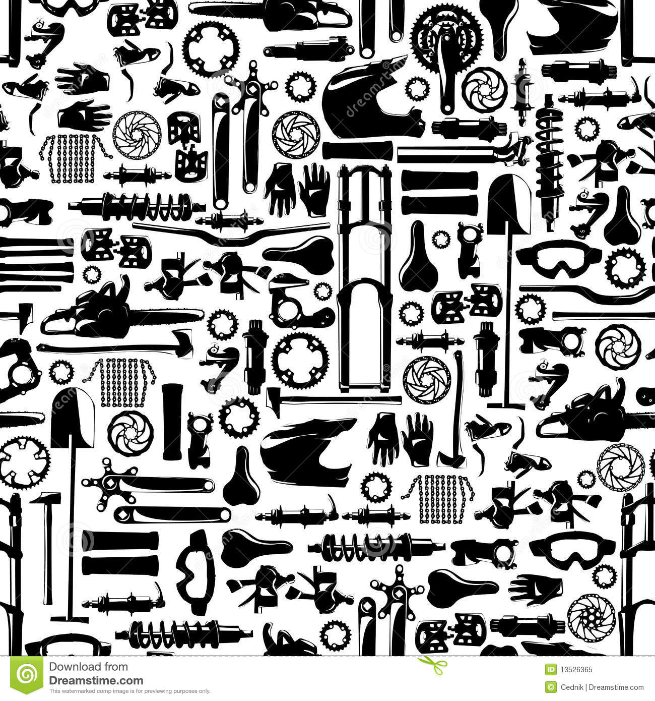 Big Bike Part Vector Colletion Seamless Pattern Stock Vector