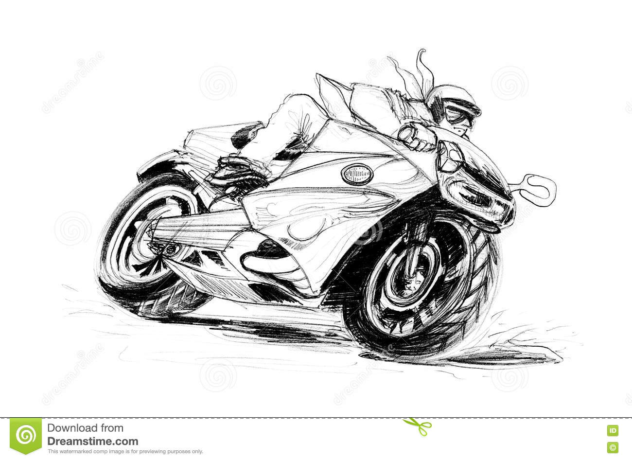 Big bike riding on the road curve cartoon pencil sketch free hand black and white color isolated background