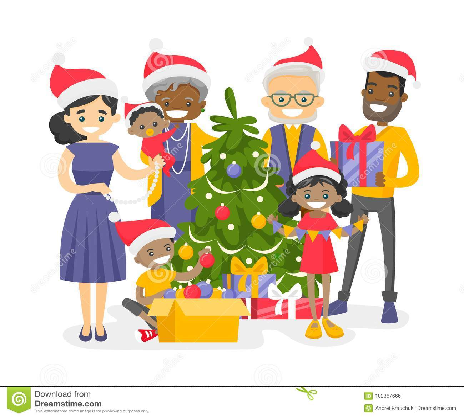 Big Biracial Family Decorating The Christmas Tree. Stock ...