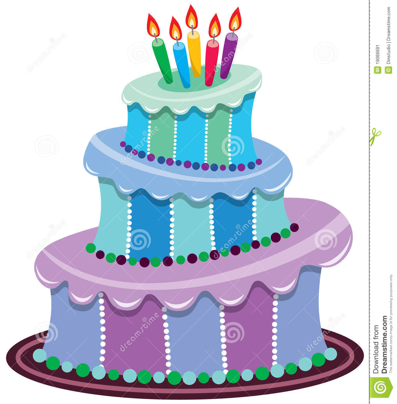 Vector Illustration Of Big Birthday Cake With Burning Candles