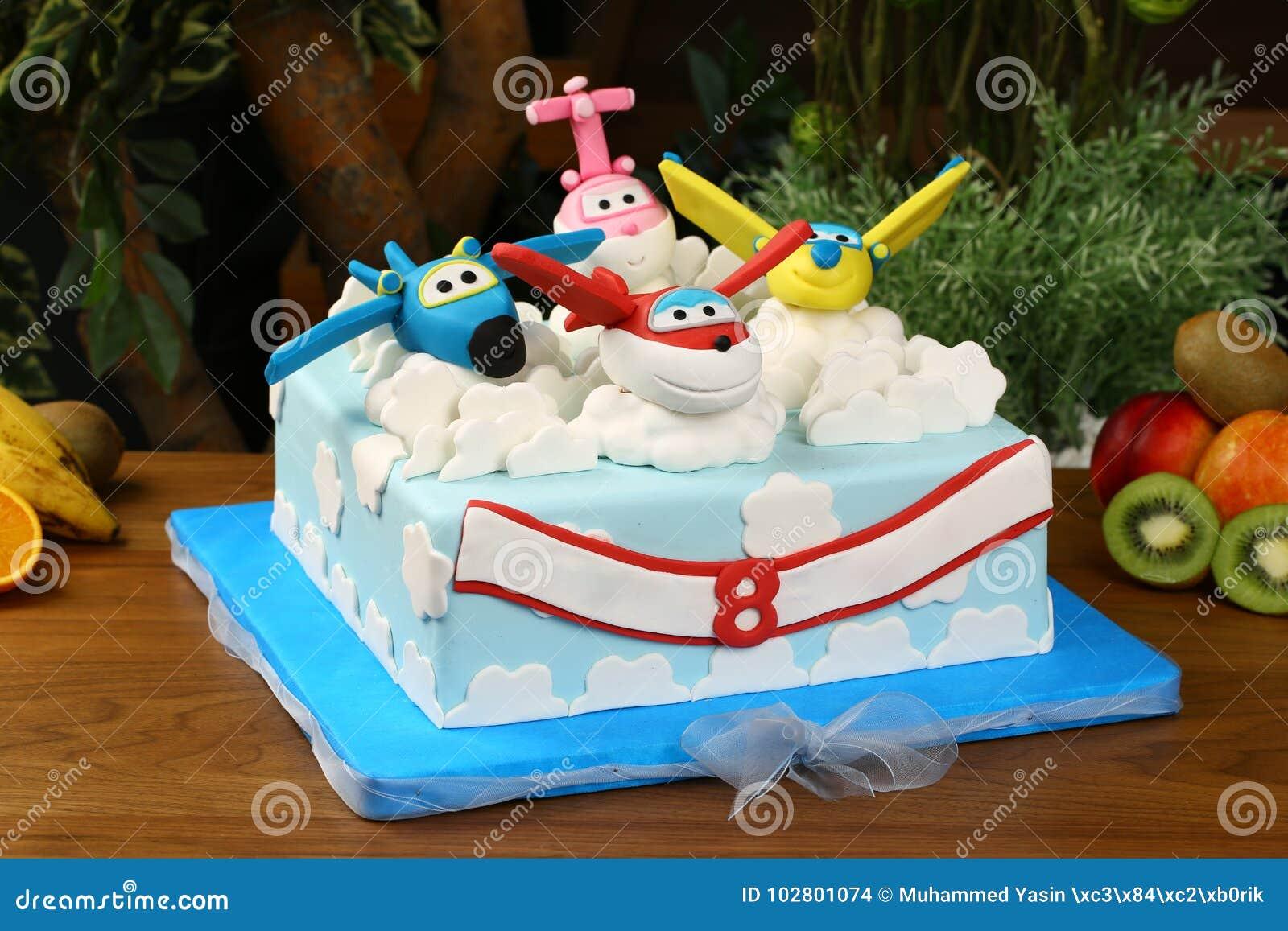 Kids Birthday Party Cake Airplane Consept Stock Photo Image Of