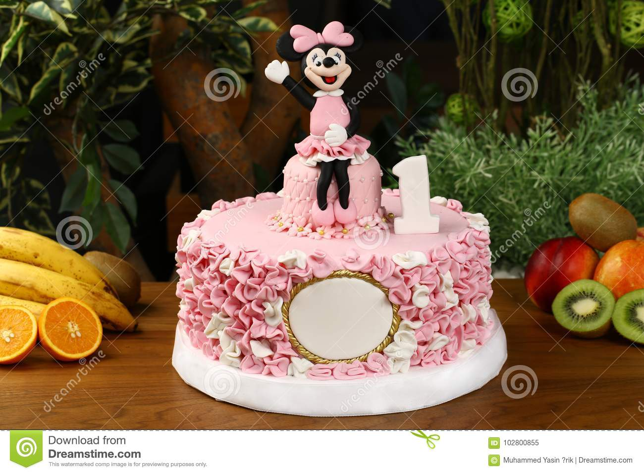 Big Birthday Cake Decorated With Mickey Mouse Consept