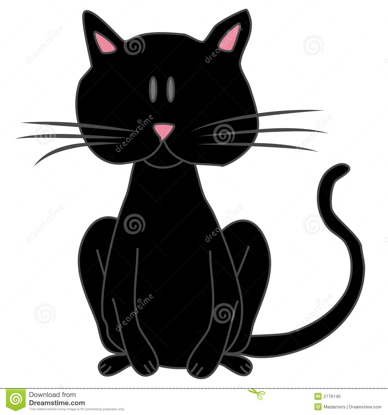 Stock Photo: Big Black Cartoon Cat Clip Art. Image: 2776140