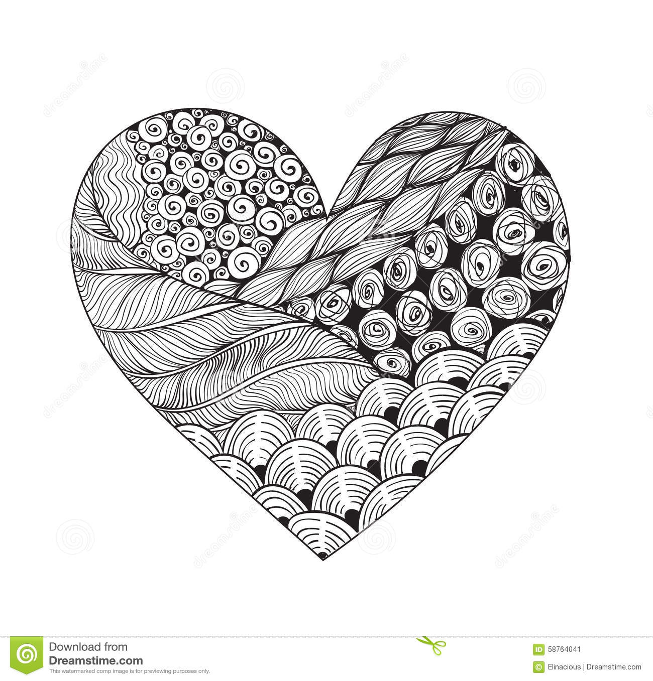 Big Black And White Zentangle Heart Stock Vector Image