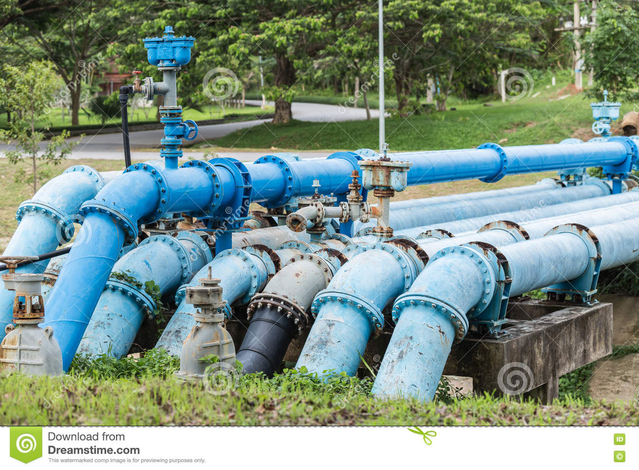 Big Blue Color Main Pipe For Water Supply Stock Photo - Image ...