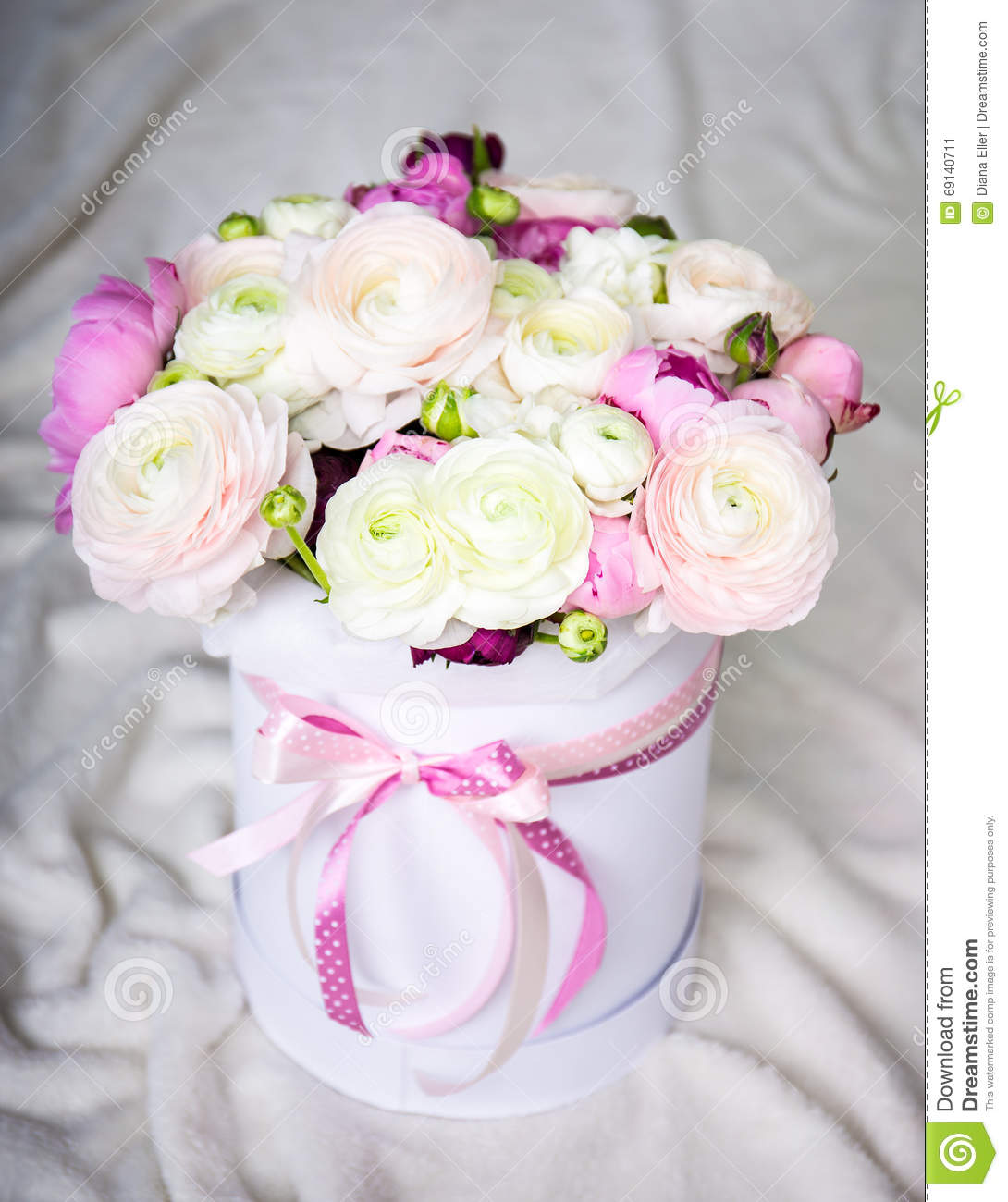 Big bouquet of summer flowers in round box over white stock image royalty free stock photo izmirmasajfo