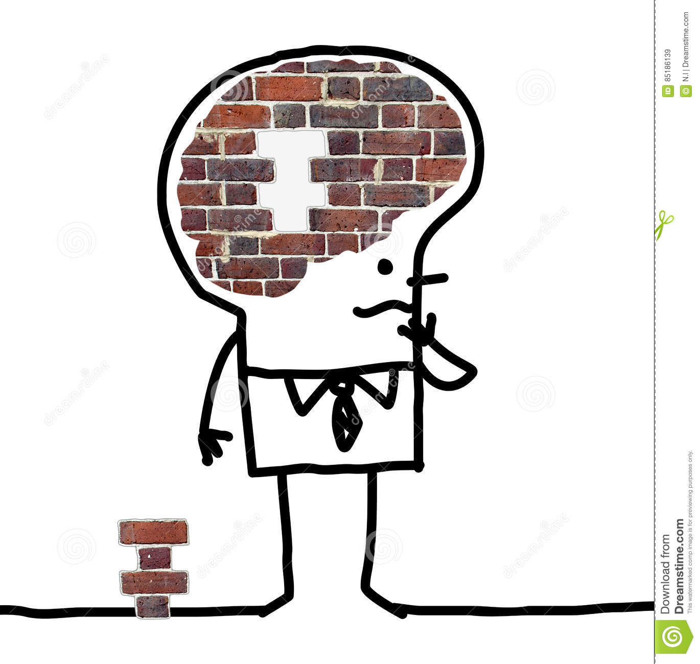 Big brain man wall and puzzle stock illustration illustration of download big brain man wall and puzzle stock illustration illustration of background bricks thecheapjerseys Gallery