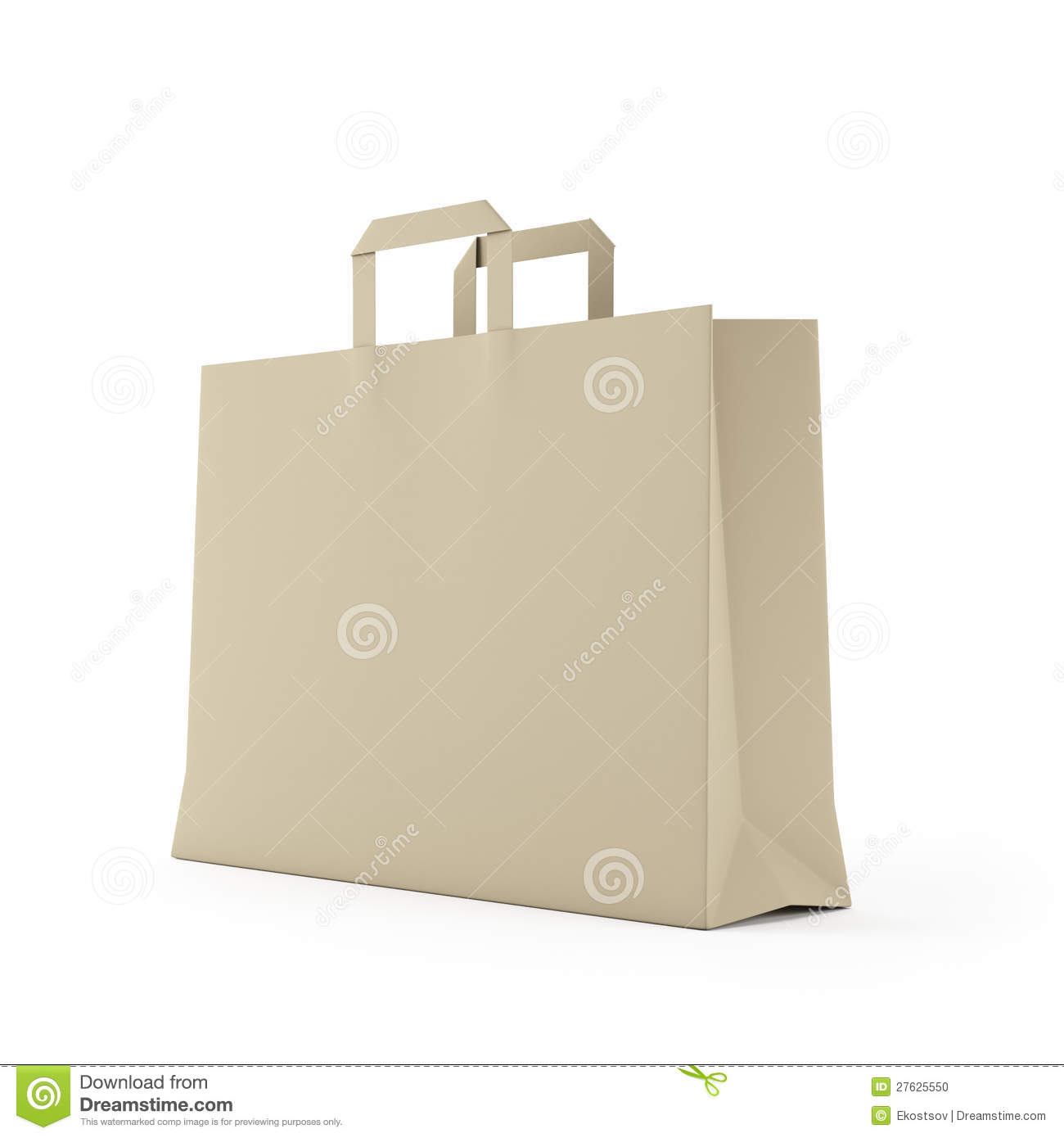 big brown paper bag isolated on white stock photo image