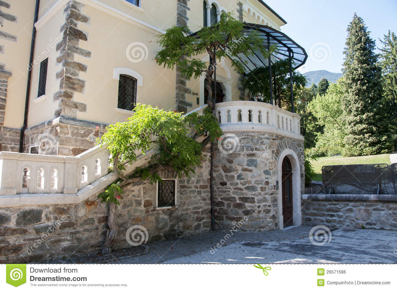 Big Building In Italy In The Place Levico Terme Royalty