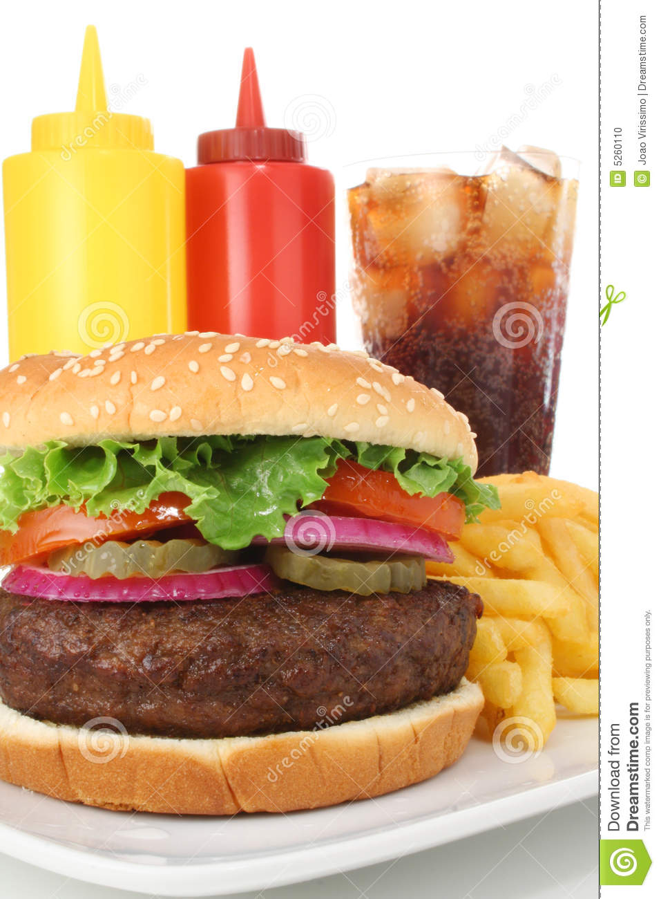 Big burger with fries soda ketchup and mustard stock for Burger de