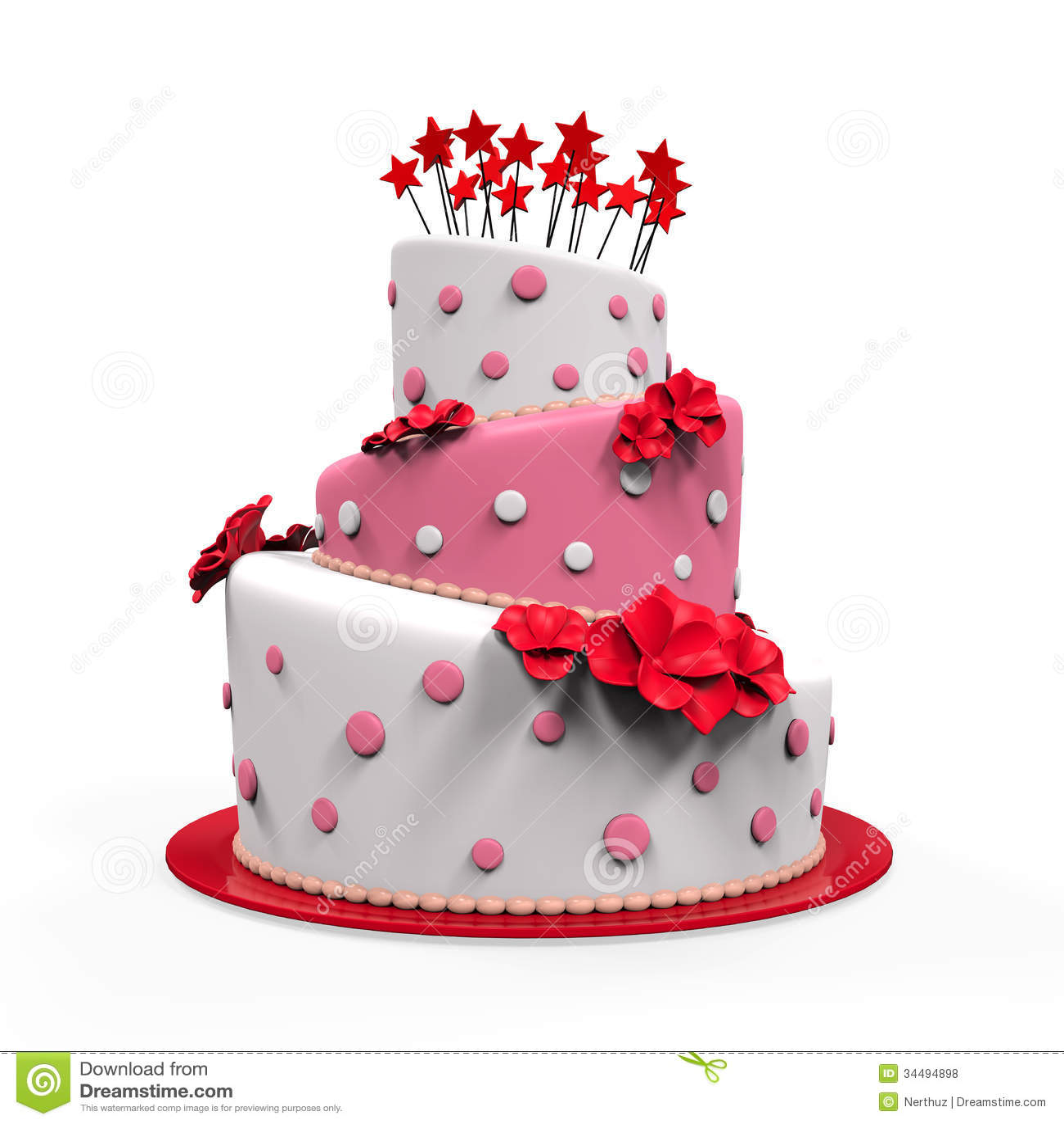 Big Cake Isolated Stock Illustration. Illustration Of