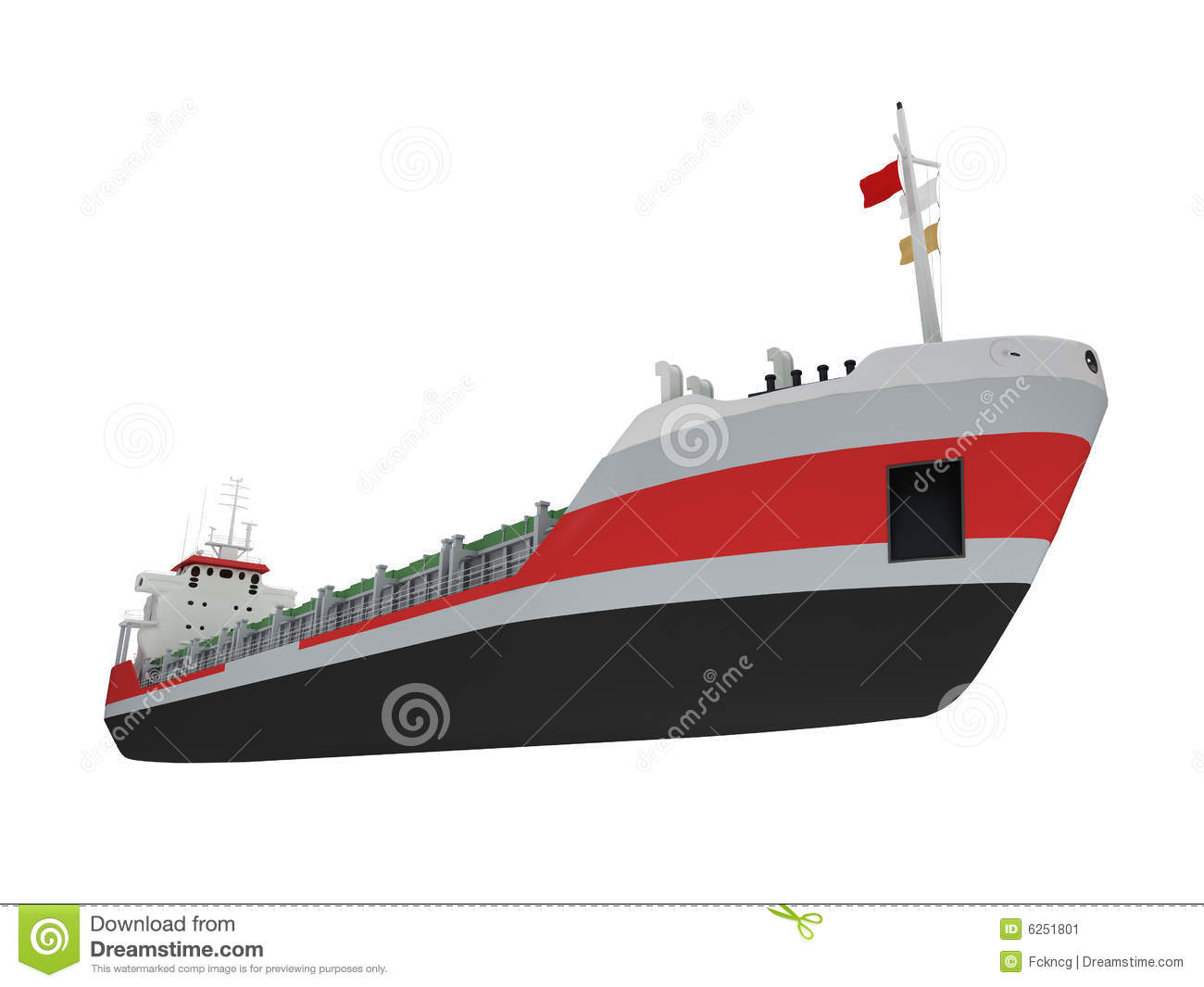 Big Cargo Ship Isolated Front View Stock Illustration ...
