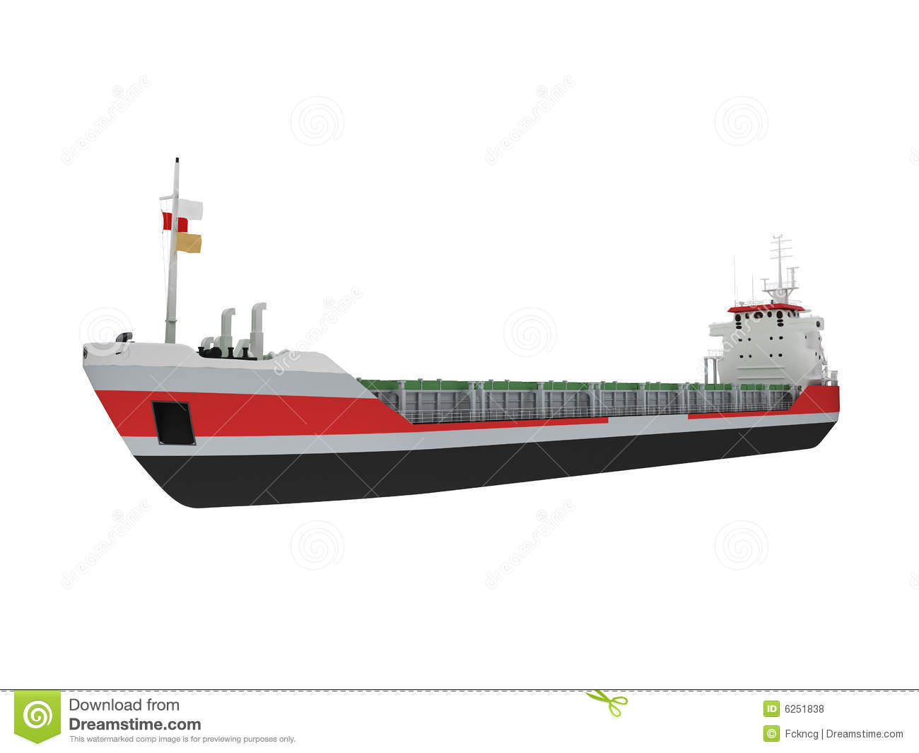Big Cargo Ship Isolated Front View Royalty Free Stock ...